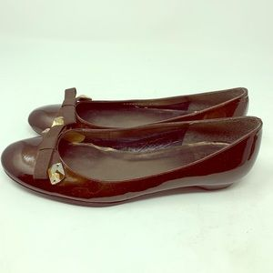 Stuart Weitzman Patent Leather Bow Ballet Flat 6.5